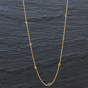 Diamond Slice Gold Chain - necklaces & pendants