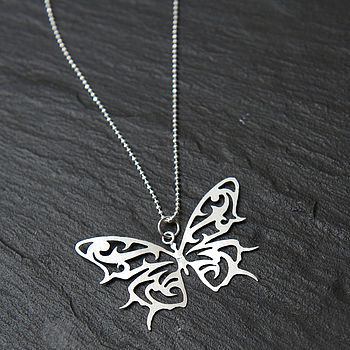 Silver Handcarved Butterfly Pendant