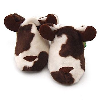 Childrens Cow Slippers