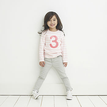 Age/ Number Kids T Shirt Breton Marshmallow