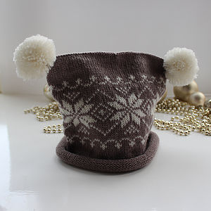 Childrens Fairisle Pompom Hat