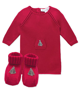 French Cashmere Knit Baby Dress And Booties