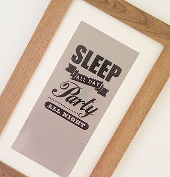 Sleep And Party Teenage Print