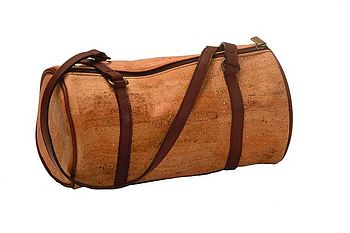 Natural Cork and Brown Leather Shoulder Bag