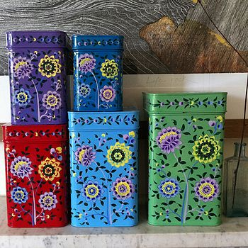 Set Of Five Nesting Kashmiri Storage Tins