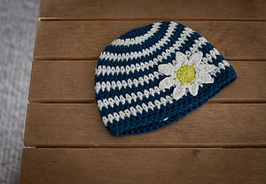 Daisy Striped Crochet Hat - hats, scarves & gloves