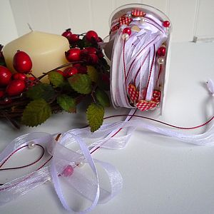 Red Gingham Hearts Ribbon