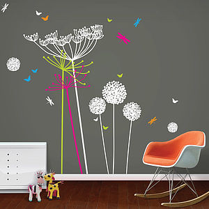 Dandelions And Cowparsley Wall Stickers - bedroom