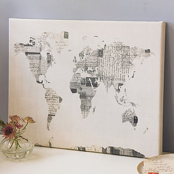 Vintage Style Postcard World Map Print