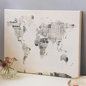 Vintage Style Postcard World Map Print - canvas prints & art