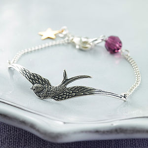 Silver And Crystal Bird Bracelet - bracelets & bangles