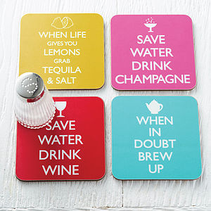 Set Of Four Wise Words Coasters - stocking fillers under £15