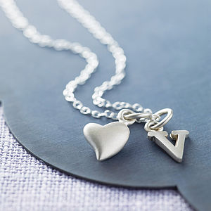 Silver Initial Charm Necklace - gifts under £25 for her