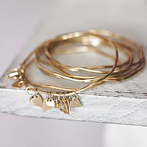 Bess Heart Charm Bangle - gifts for her