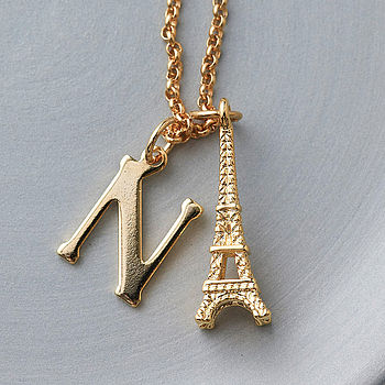 Eiffel Tower Initial Charm Necklace