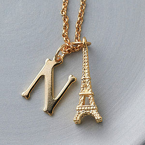 Eiffel Tower Initial Charm Necklace - necklaces & pendants