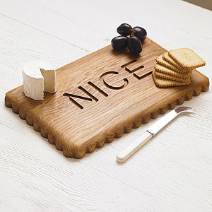 Solid Oak Nice Biscuit Chopping Board And Cheese Board - gifts for bakers