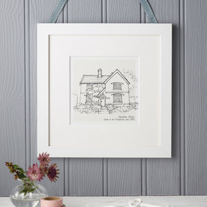 Hand Drawn Bespoke House Sketch - personalised prints