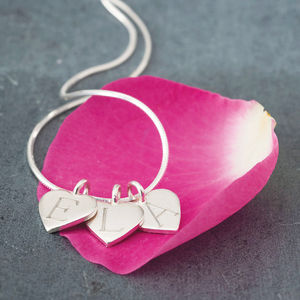 Silver Heart Initial Necklace - gifts for her