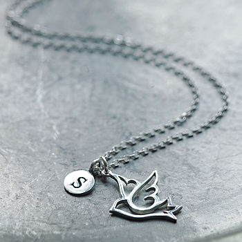 Silver Dove Initial Necklace