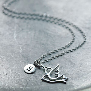 Silver Dove Initial Necklace - women's jewellery