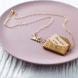 Gold Personalised Love Letter Necklace - 50th anniversary: gold