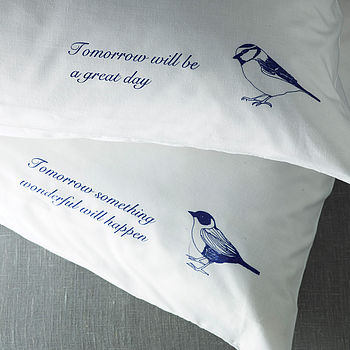 Set Of Two Bird Quote Pillowcases