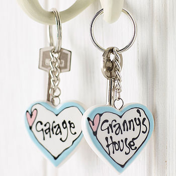 Ceramic Heart Key Ring - Pink Heart Blue Edge Design