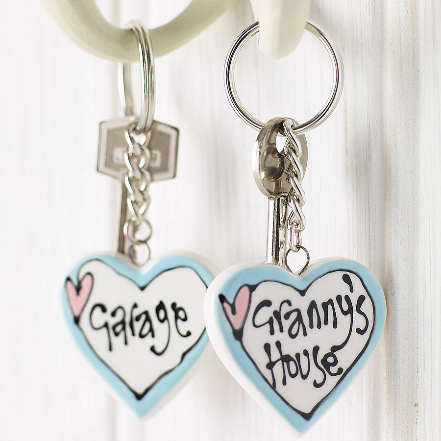 Personalised Ceramic Heart Key Ring