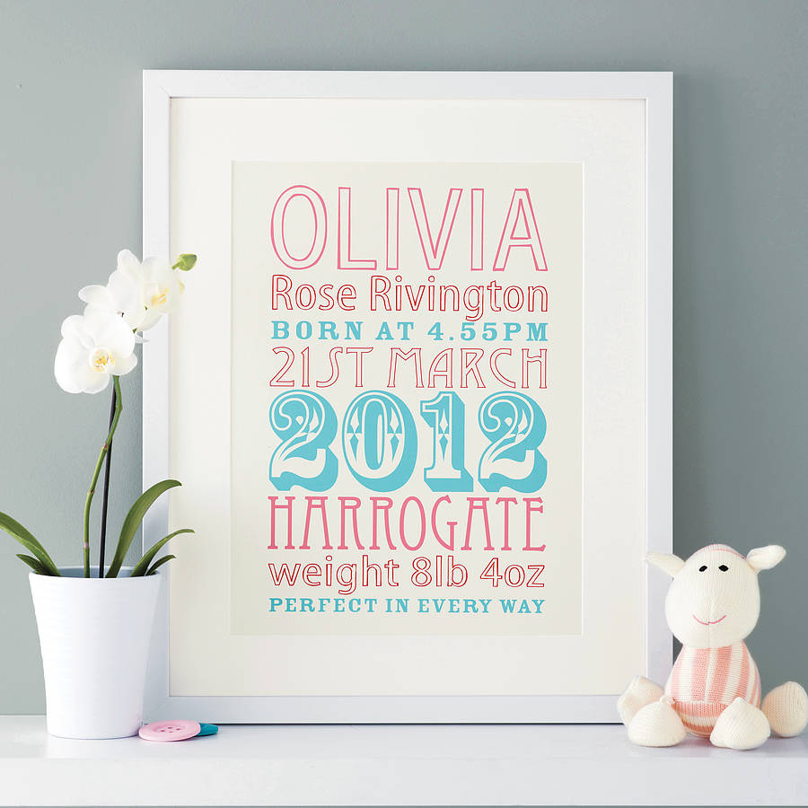 Personalised new baby birth date print by modo creative cream background with pink and aqua type negle