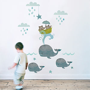 Owl And Pussycat Fabric Wall Sticker - baby's room