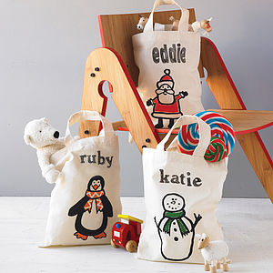 Personalised Mini Christmas Tote Bag - stockings & sacks