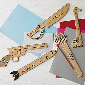 Retro Shaped Wooden Ruler - secret santa gifts