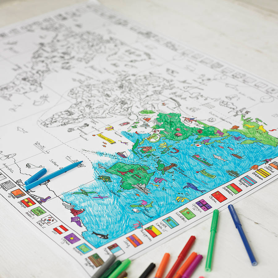 Colour In World Map Poster And Pens
