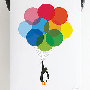 Mr Penguin Balloon Print - art & pictures