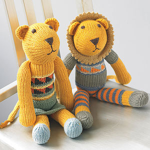 Hand Knitted Lion Soft Toy - under £25