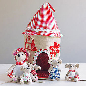Fabric Mouse House And Family