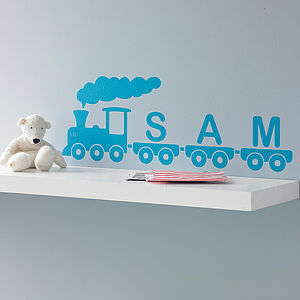Personalised Train Vinyl Wall Sticker - cars, trains & planes