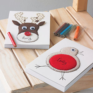 Personalised Embroidered Robin Or Reindeer Notepad - writing