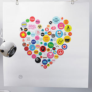 Personalised Badges Heart Print - gifts for teenagers