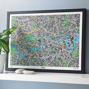 Hand Drawn Map Of London Print - for young men