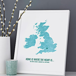 Personalised 'Where The Heart Is' Print - maps & locations