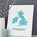 Personalised 'Where The Heart Is' UK Map Print