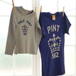 'Pint' And 'Half Pint' T Shirts For Dads And Kids - gifts from younger children