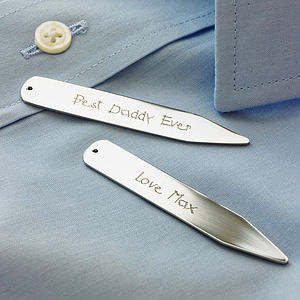 Personalised Message Collar Stiffeners - for fathers