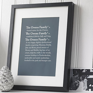 Personalised 'Family' Dictionary Print - pictures, prints & paintings
