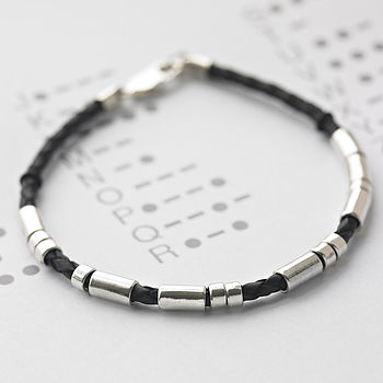 Personalised Men's Leather Morse Code Bracelet