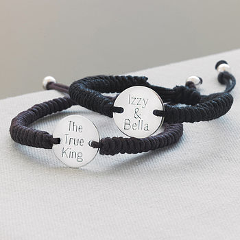 Personalised Men's Silver Friendship Bracelet