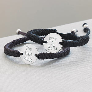 Personalised Men's Silver Disc Friendship Bracelet