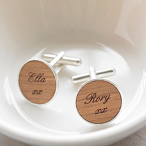 Personalised Wooden Word Cufflinks - for fathers